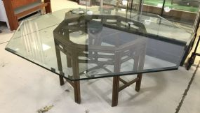 Large Polygon Glass Top Dinning Table