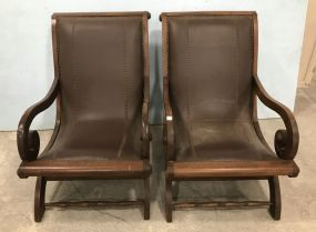 Pair of Wood and Leather Plantation chairs