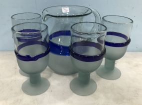 Art Glass Pitcher and Water Glasses