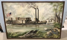 Painting of Civil War Ironclad Steam War Boat