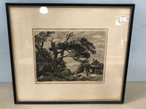 Sam Thal Framed Old Home Place Drawing