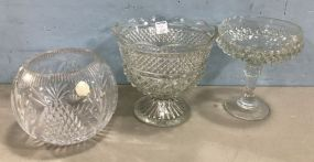 Diamond Pattern Pressed Compotes and Crystal Bowl