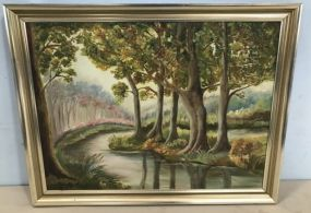 River Landscape Painting by Thelma Triche