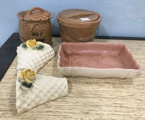Biscuit Jars, Wall Pockets, and Dish