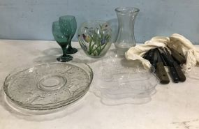 Group of Glass Ware and Knives