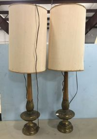 Pair of Vintage Brass and Wood Table Lamps