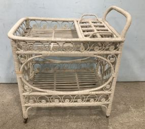 White Wicker Serving Cart