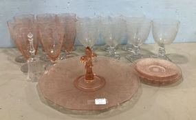 Pink and Clear Depression Era Glassware