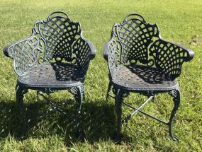 Two Ornate Aluminum Outdoor Arm Chairs