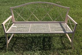 White Metal Outdoor Bench