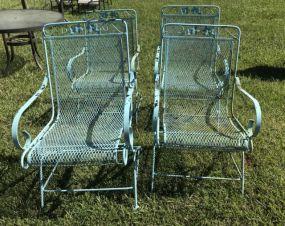 Four Iron Rocker Arm Patio Chairs