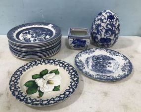Blue Willow Plates and Decor
