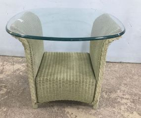 Vintage Wicker Glass Table