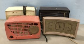 Three Vintage Radios and Clock