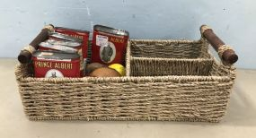 Woven Basket with Collectibles