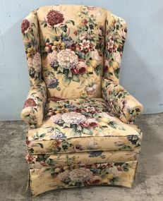 Floral Pattern Wing Back Arm Chair