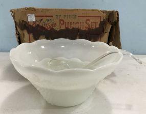 Anchor Hocking Milk Glass Punch Bowl Set