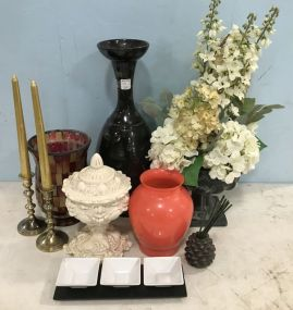 Group of Decorative Vases and Decor
