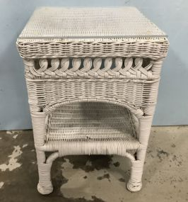 Small White Wicker Side Table