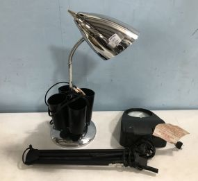 Industrial Style Desk Lamp and Magnify Glass