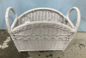 White Wicker Handled Magazine Rack