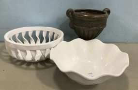 Ceramic Painted Urn and Milk Glass Bowls