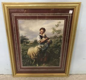 Girl with Goat and Sheep Framed Print