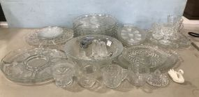 Large Group of Clear Glass Pieces