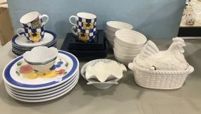 Assorted Group of Stoneware Everyday Plates and Bowls