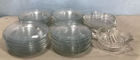 Clear Glass Salad Plates, Juicer, and Luncheon Apple Plates