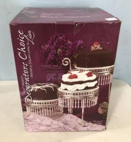 Silver Plated Crystal Beaded Cake Display Centerpiece