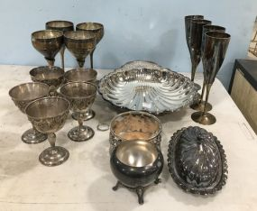 Group of Sliver Plate Goblets and Dishes
