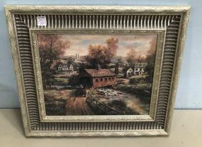 Village Scene Print Framed