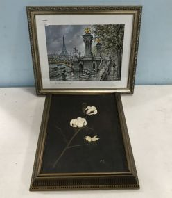 Painting of Flower and Paris Framed Print
