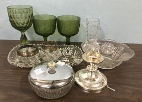 Assorted Pressed Glass Serving Pieces