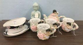 Avon Tea Set, Tea Buddha, and Mikasa Gravy Boat