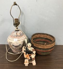 Asian Figurine, Hand Painted Table Lamp, and Woven Basket