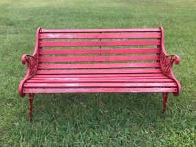 Painted Red Outdoor Bench