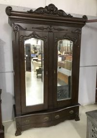Antique English Oak Double Door Wardrobe