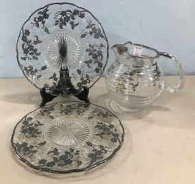 Vintage Pressed Glass Silver Plate Overlay Serving Pieces