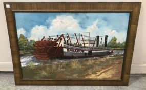 Vintage Painting of 1901 Steamboat