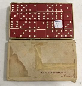 Vintage Catalin by Cardinal Red Bake Lite Dominoes