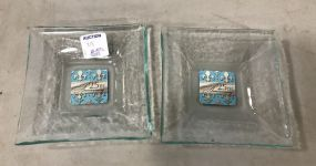 Two Small Annie Glass Celebrating 25 Years Square Trays