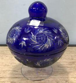 Cobalt Blue Cut Glass Candy Dish