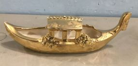 24 Kt Plated Pottery Boat