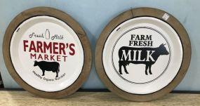 Pair of Round Farm Fresh Milk Signs