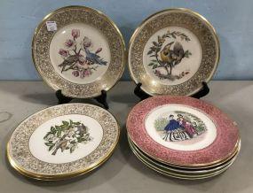 Lenox Boehm Birds Plates and Imperial Salem 23 Karat Gold Plate