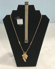 Signed Godltone Trifari Necklace and Sign Monet Mesh Bracelet