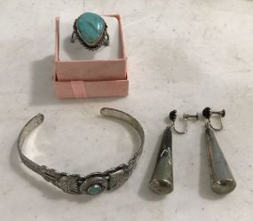 Vintage Silver Tone Bracelet, Earrings, and Turquoise Ring