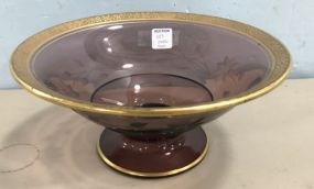 Cranberry Etched Glass Footed Bowl